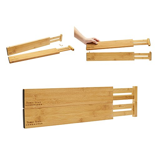 Bamboo Drawer Divider Organizer. Set of 4 - Spring loaded, Expandable, Adjustable & Stackable Dividers for kitchen, junk drawer, bedroom, bathroom, Baby or Desk Inserts (Short Divider Drawer)