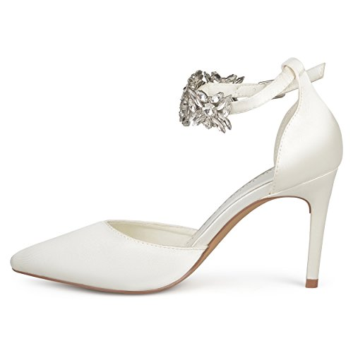 Journee Collectie Dames Dorsay Puntschoen Strass Enkelband Stiletto Hakken Wit