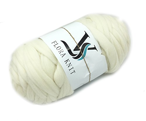 Merino Super Chunky Yarn Wool Roving for Arm Knitting (4.4LB(2KG)-50mm, CREAM) by FLORAVOGUE
