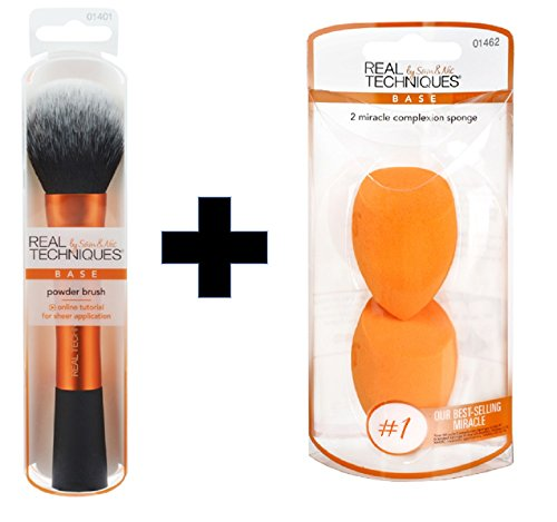 Real Techniques Value Set Real Techniques Powder Brush Plus 2 Miracle Complexion Sponges ()