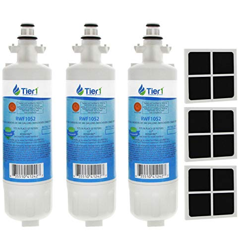 Tier1 Replacement for LG LT700P ADQ36006101, ADQ36006102, Kenmore 46-9690, and LT120F Water and Air Filter Combo 3 Pack (Change Air Filter In Kenmore Elite Refrigerator)