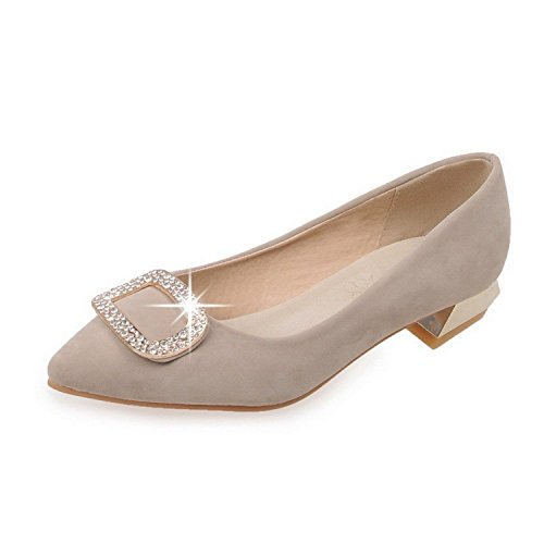 Yingzuzeng Women's Pointed Closed Toe Pull On Frosted Solid Low Heels Pumps-Shoes Apricot9.5 B(M) US Fashionable
