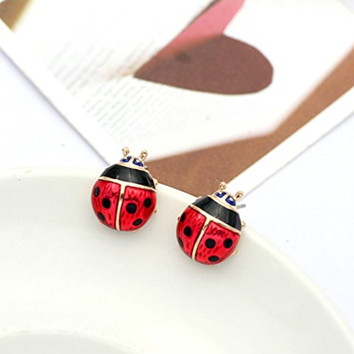 Rose Gold Plated Red Ladybug Black Spots Animal Stud Earrings Fashion Jewelry for Girls by Gift for Girls (Image #1)