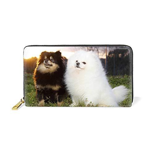 Women Zipper Wallet Pomeranian Brother Designer Clutch Purse Phone Credit Card Holder (Pomeranian Coin Purse)