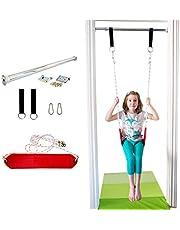 DreamGYM Doorway Belt Swing - Indoor Swing for Kids - Red