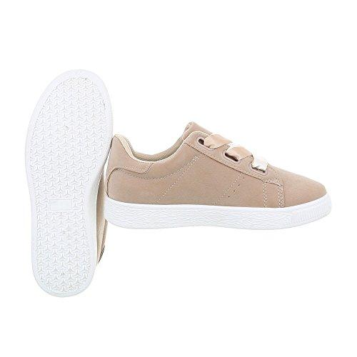 Ital-Design Sneakers Low Damenschuhe Sneakers Low Sneakers Schnürsenkel Freizeitschuhe Beige
