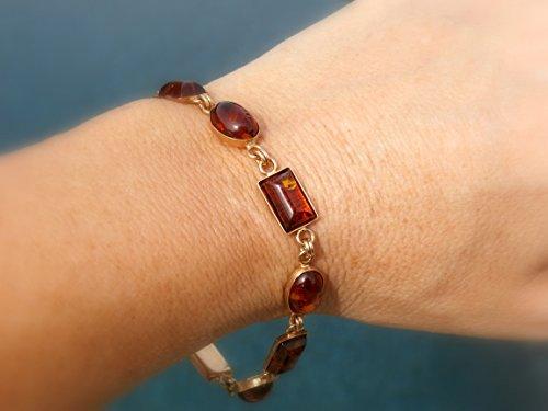 - 14kt Amber Bracelet, Vintage unworn Baltic Amber Bracelet in solid 14kt, 7.5