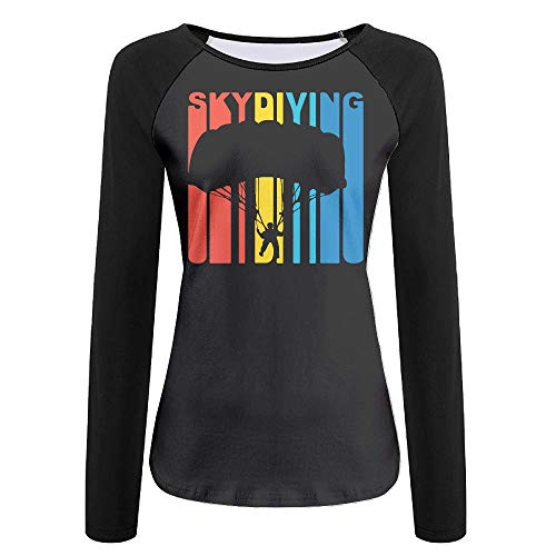 - KEQ&33 1970's Style Retro Skydiving Women's Casual O Neck Long Sleeve Tee Shirt Raglan Tops