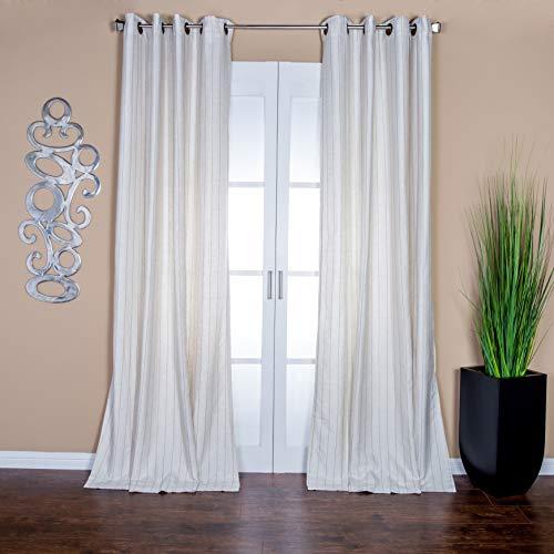 Lambrequin Sahara Cream Pinstripe Linen Blend 96-inch Curtain Panel - 55 x 96 Cream/Beige -