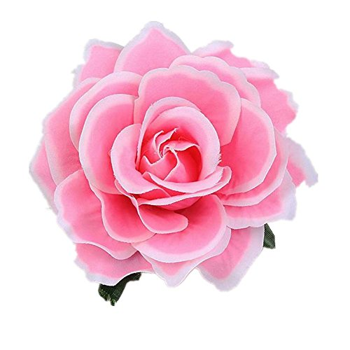 Lovefairy Beautiful Rose Flower Hair Clip Pin up Flower Brooch For Party Travel Festivals (White Pink)