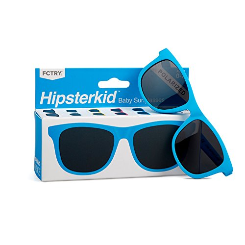 Hipsterkid BPA Free, Warranty Protected, Polarized Sunglasses for Babies, Ages 0-2, in Blue