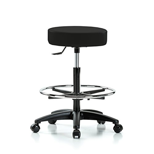 Perch Single Lever Height Adjustable Rolling Swivel stool with Footring 24
