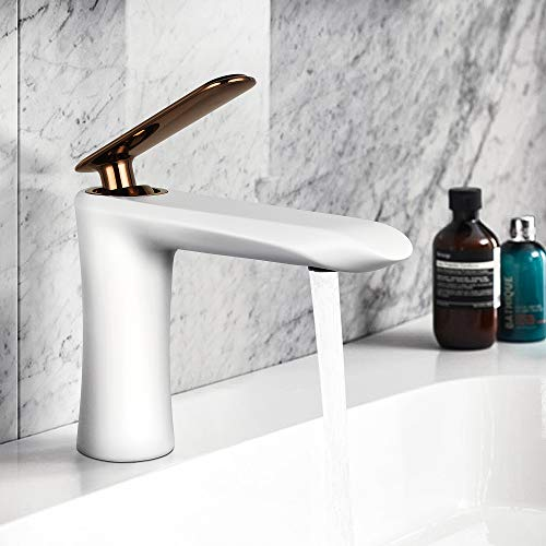 YOHOM Modern White Bathroom Vanity Sink Faucet Single Handle Lavatory Faucet One Hole Water Basin Mixer Tap Solid Brass