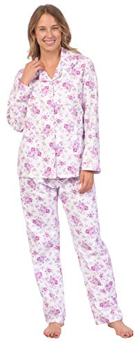 Pink Lady Womens 100% Cotton Long Sleeve Print 2 Piece Flannel Pajama Set (Pink Floral Print, L)