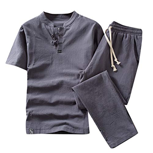 JustWin Summer Fashion Men's Solid Color Cotton and Linen Vintage Retro Short Sleeve Shorts Set Suit Tracksuit Gray ()
