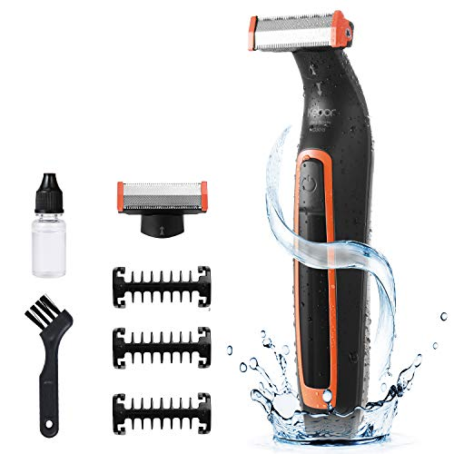 Electric Shaver Body Hair Trimmer Rechargeable Razor with Guide Combs Kebor for Precise Face, Back, Chest, Groin, Leg Hair Trimming (IPX5 Waterproof)