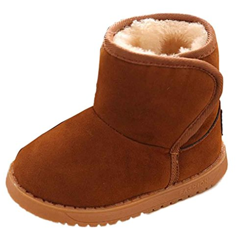 """Price comparison product image Toddler Adorable Lightweight Warm Snow Boots Winter Baby Child Style Cotton Outdoor Anti-slip Boots (5.1"""", Brown)"""