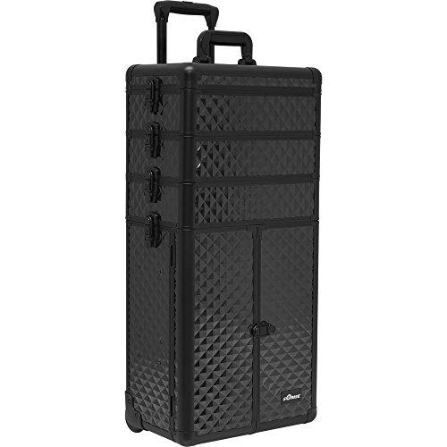 Sunrise Colonne 2-In-1 Rolling Makeup Case Professional Nail Travel Organizer Box, Black Diamond, 25 Pound by SunRise