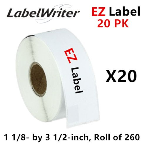 EZLabel Dymo Compatible 30320 LabelWriter Self-Adhesive White Address Labels, 1-1/8 x 3-1/2 (20 Roll, 260 Labels Per Roll)