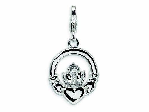 Amore LaVita Sterling Silver CZ Claddagh Lobster Clasp Bracelet Charm