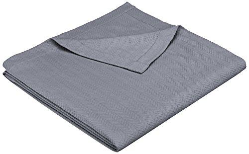Pinzon Egyptian Cotton Herringbone Blanket - King, Grey
