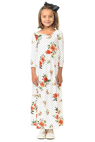Pastel by Vivienne Honey Vanilla Girls' Fit and Flare Maxi Dress X-Large Floral Ivory Star -