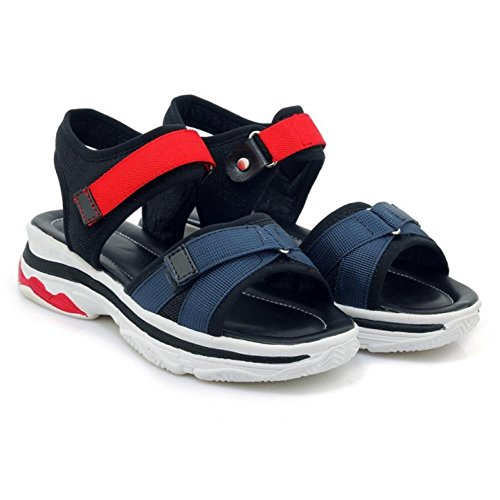 Stratch 4 Sandales Femmes Chaussures TAOFFEN Compensées Black qYBIxcPw