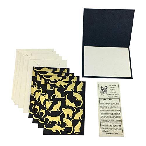 (Nepal Greeting Card and Envelope Set: Cats, Eco-friendly Handmade Lokta Paper)