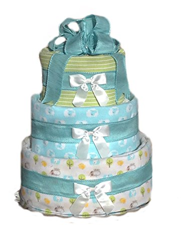 Welcome Baby - Baby Shower Diaper Cake Gift Set (Teal Lamb)