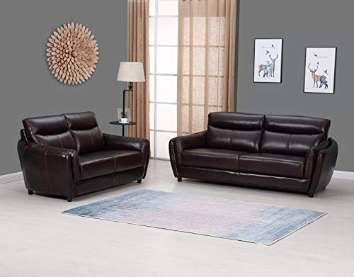 Blackjack Furniture 9778-BROWN-2PC Troy Classic Top Grain Leather Living Room Sofa and Loveseat Set, 82