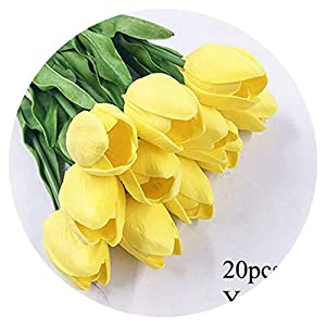 shine-hearty 20PCS PU Tulip Artificial Flowers Real Touch Wedding Decorative Flowers Mini Tulip for Home Party Hotel Decoration,3 112