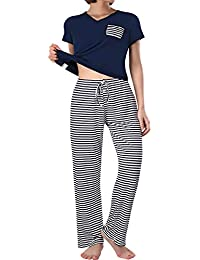 ba8f5b21a Summer Pajama Set Women s Cute Short Sleeve Top with Pants Shorts Sleepwear  Pjs Sets