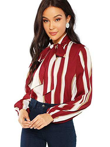 Floerns Women's Bow Tied Neck Lantern Long Sleeve Striped Blouse Red and White S