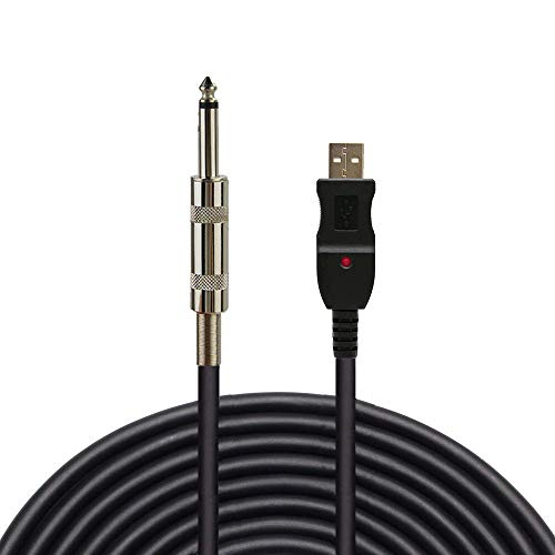 (USB Guitar Cable,Ebetter 3m/10ft Guitar Bass to PC USB Recording Cable Adapter Converter,USB Interface Male to 6.5mm1/4