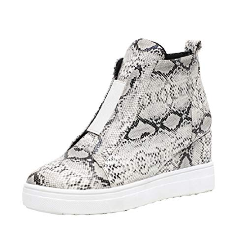 Women Fashion Vintage High Top Ankle Boots Side Zipper Increase High Snakeskin Printed Flat Boots by Lowprofile - Apparel American Wholesale T-shirts