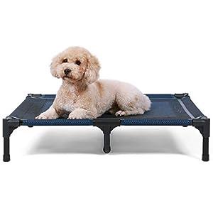 ANWA Erhöhtes Hundebett für Garten draußen, Hundeliege Outdoor Grosse Hunde, Hundebett für große Hunde höhe in 20cm BLAU