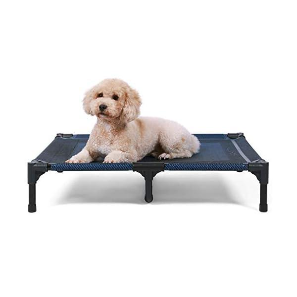 41hXEiBSJUL ANWA Erhöhtes Hundebett für Garten draußen, Hundeliege Outdoor Grosse Hunde, Hundebett für große Hunde höhe in 20cm BLAU