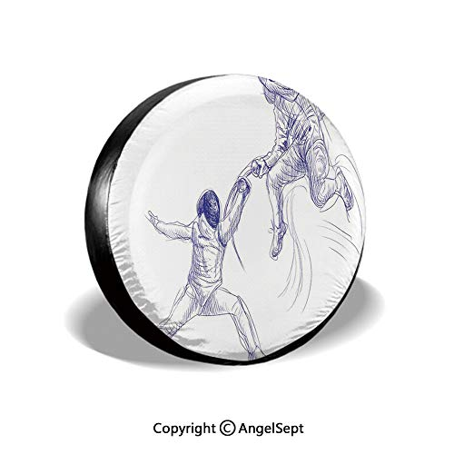 Tire Cover,Sketch of Two Sportsman Fencing Duel Swordplay Agility Attack Action Discipline Decorative,Blue White,for Jeep,Trailer, RV, SUV and Many Vehicle 16