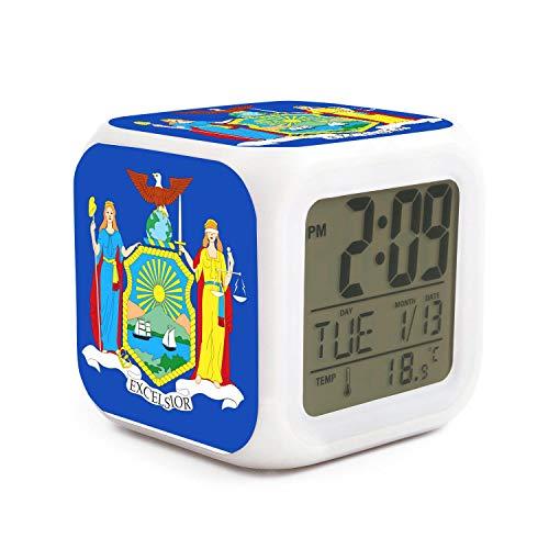 New York Jets Desk Clock - kanidjkd Wake Up New York Flag Dimmer Snooze LED Nightlight Bedroom Desk Travel Digital Cool Alarm Clock for Kids Girls