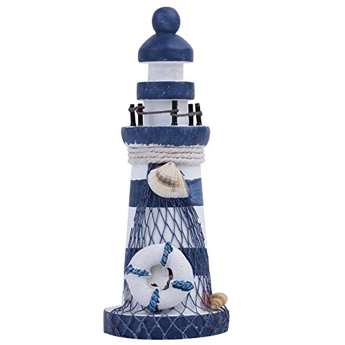FunnyToday365 Nautical Wood Wooden Lighthouse Beacon Tower Beach Starfish Shell Home Room Bedroom Diy Decorative Crafts Ornament Gift ()