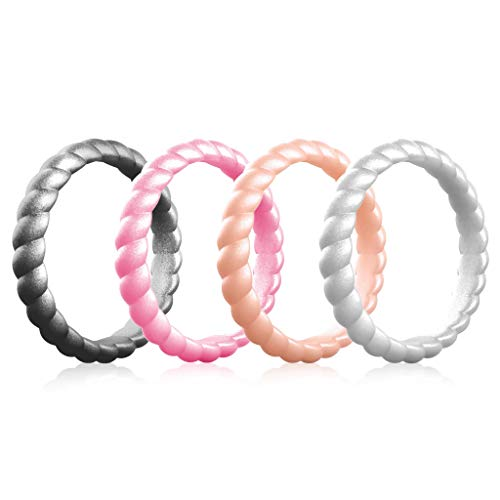 ThunderFit Women Swivel Rings 4 Pack Silicone Wedding Rings (Metallic Pink, Silver, Rose Gold, Dark Silver, 4.5-5 (15.7mm)) Review