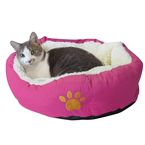 Evelots Soft Pet Bed,for Cats & Dogs, 17″ D x 5″ H, Magenta