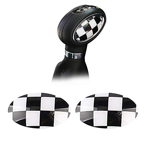GTINTHEBOX Black White Checkered ABS Shift Knob Automatic Trans Trim Badge Covers for Mini Cooper/Cooper S for Hardtop (F56), Hardtop 4-Door (F55), Convertible (F57) & Clubman (F54)