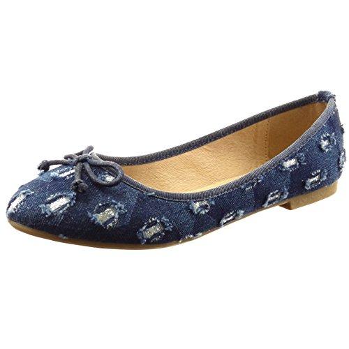 Sopily - Scarpe da Moda ballerina alla caviglia donna nodo paillette Tacco a blocco 1 CM - Blu