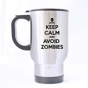 Funny Keep Calm and Avoid Zombies Travel Mug