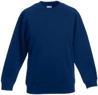 Bleu 12 Ans Bleu Marine Fruit of the Loom Sweat-Shirt /à Manches Raglan pour Enfant