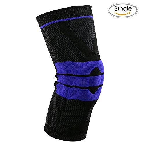 3d Weaving Knee Braces, 3d Knee Support Compression Sleeve Nylon Silicon Knee Sleeve,Knee Braces Athletic Padding Supplies Knee Pads GenuTrain for Pain Relief, Meniscus Tear, Arthritis, Injury- Single