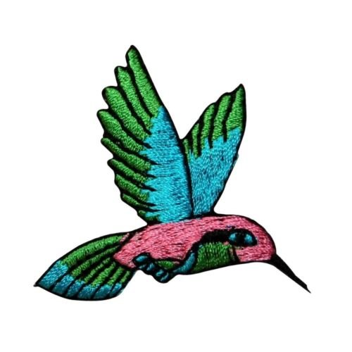 ID 0498 Hummingbird Small Flying Nectar Bird Patch Embroidered Iron On Applique for Accessories - Bags/Purses, Apparel - Coat/Jacket, Apparel - Jeans/Pants, Children, Crafts by - Stores Nectar Card