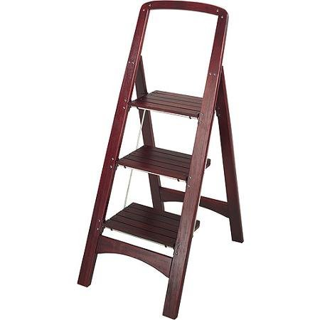 Cosco Three Step Rockford Wood Step Stool, Safety Rail for Climbing Ease and Support