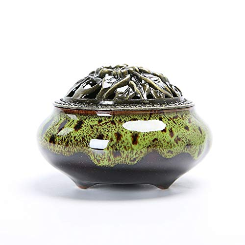 Ceramic Incense Holder 5 Colors with Lid Vintage Retro Chinese Incense Burner Censer for Home Living Room Office Teahouse (Color : E)